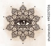 all seeing eye in ornate round... | Shutterstock .eps vector #490207036