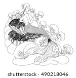 hand drawn and doodle art thai... | Shutterstock .eps vector #490218046