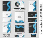 corporate identity template set.... | Shutterstock .eps vector #490218232