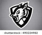 squirrel head black shield logo ... | Shutterstock .eps vector #490224982