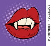 sexy halloween vampire mouth... | Shutterstock .eps vector #490231078