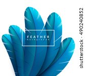 blue feather background. exotic ... | Shutterstock .eps vector #490240852