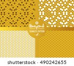 honeycomb pattern set with four ... | Shutterstock .eps vector #490242655