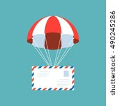 airmail envelope with parachute ... | Shutterstock .eps vector #490245286