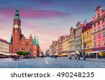 colorful evening scene on... | Shutterstock . vector #490248235