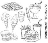 vector set of sketch snack... | Shutterstock .eps vector #490252972