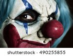 closeup of a scary evil clown | Shutterstock . vector #490255855