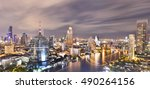 panorama of bangkok city at... | Shutterstock . vector #490264156