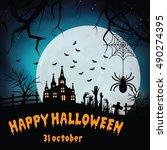 halloween pumpkins and dark... | Shutterstock .eps vector #490274395