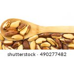 top view of wooden spoon and... | Shutterstock . vector #490277482
