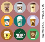 set of colorful coffee icons in ... | Shutterstock .eps vector #490287745