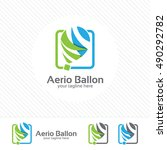air balloon logo vector with... | Shutterstock .eps vector #490292782