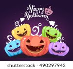 vector halloween illustration... | Shutterstock .eps vector #490297942
