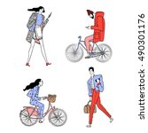 set of urban characters.... | Shutterstock .eps vector #490301176
