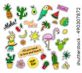 fashion patch badges. tropical... | Shutterstock .eps vector #490307872