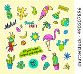 fashion patch badges. tropical... | Shutterstock .eps vector #490307896