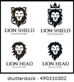 lion shield logo design... | Shutterstock .eps vector #490310302