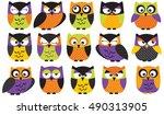 halloween owls  | Shutterstock .eps vector #490313905