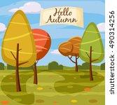 hello autumn  park  landscape ...   Shutterstock .eps vector #490314256