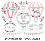 hot air balloons save the date... | Shutterstock .eps vector #490320265