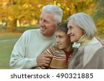 grandparents and grandson in... | Shutterstock . vector #490321885