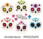day of the dead sugar skulls | Shutterstock .eps vector #490325605