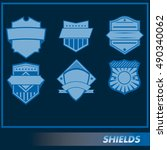 set of different vector shields ... | Shutterstock .eps vector #490340062