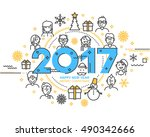 2017 happy new year trendy and... | Shutterstock .eps vector #490342666