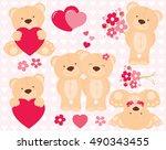 valentine teddy bears | Shutterstock .eps vector #490343455