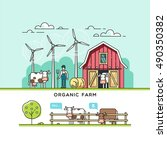 organic farm. vector... | Shutterstock .eps vector #490350382