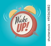 wake up alarm clock | Shutterstock .eps vector #490363882