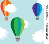 colorful air balloons in the... | Shutterstock .eps vector #490364422