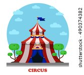 circus marquee or tent   front... | Shutterstock .eps vector #490374382