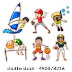 sticker set with people doing... | Shutterstock .eps vector #490378216