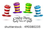 Stock vector crazy party colorful striped carnival hats vector set 490380235