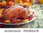 thanksgiving turkey dinner  | Shutterstock . vector #490381678