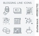 blogging line icons. making... | Shutterstock .eps vector #490381702
