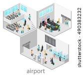 isometric airport scenes. flat... | Shutterstock . vector #490383232