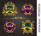set of golden royal shields...   Shutterstock .eps vector #490383526