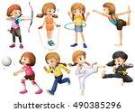 girls doing different kinds of... | Shutterstock .eps vector #490385296