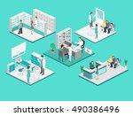 isometric flat interior of... | Shutterstock . vector #490386496