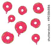 vector donut picture for t... | Shutterstock .eps vector #490386886