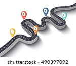 road trip and journey route.... | Shutterstock .eps vector #490397092