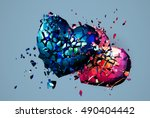 two polygonal heart crashed and ... | Shutterstock .eps vector #490404442