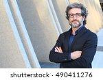 mature urban business man with... | Shutterstock . vector #490411276