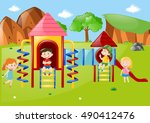 many kids at playground at... | Shutterstock .eps vector #490412476