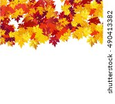 autumn background with maple... | Shutterstock .eps vector #490413382