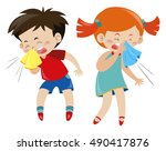boy and girl having cold... | Shutterstock .eps vector #490417876
