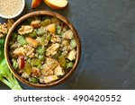 quinoa waldorf salad with apple ... | Shutterstock . vector #490420552