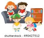 kids in group reading books | Shutterstock .eps vector #490427512